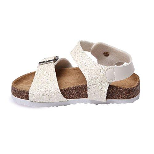 La Modeuse Sandales Pour enfant avec UNE Bride à LAvant et UNE au Niveau de la Cheville Blanc