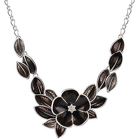 Real Spark guirnalda Precious Flower Cluster estilo Dancing disfraz de declaración collar