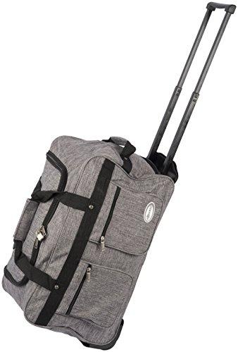 Dynamic24 Leonardo Canvas Trolley Tasche 47L Tasche Sporttasche Stoff Koffer Handgepäck (Grau)