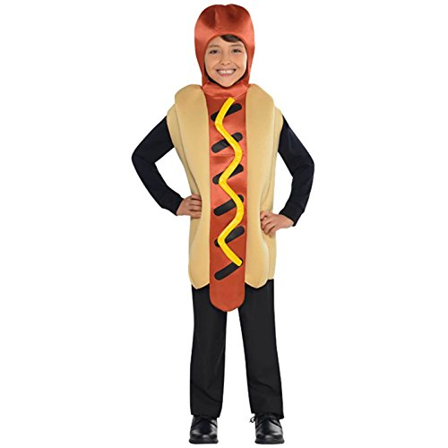 Hot Dog Jumpsuit Kids Fancy Dress American Food Fun Boys Girls Childrens (Boy Dog Kostüm)