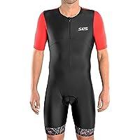 SLS3 Triathlon Einteiler Herren | Aerodynamischer Kurzarm Trisuit mit Ärmeln | 2 Taschen | Wettkampf | Front-Reißverschluss | Schwarz