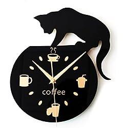 Reloj de pared silencioso con diseño creativo, ideal para decoración de cafetería