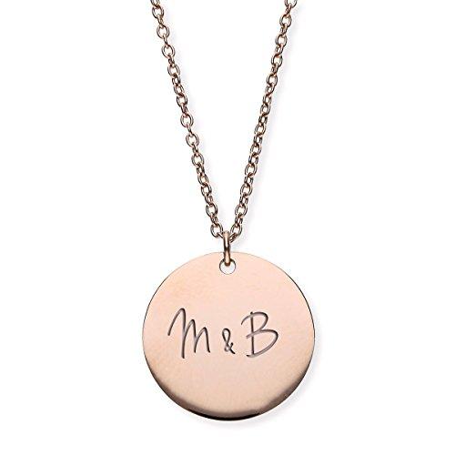 URBANHELDEN - Damen-Kette mit Wunschgravur Anhänger - Personalisierte Kette Amulett aus Edelstahl mit 2 Initialen - Big Rosegold G7