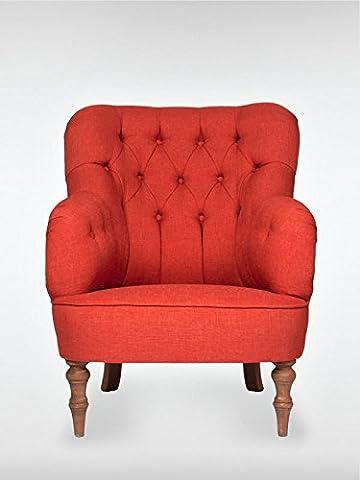 Retro Vintage Sessel Ohrensessel LELAND 78 x 100 x 90 cm Loungesessel rot