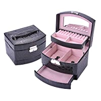 Moraphee Leather Jewelry Box for Home Jewelry Organization 5-Layer Large Capacity with Mirror-Black