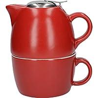 La Cafetière Barcelona Collection - Juego de Taza de té y Tetera de cerámica, Color Rojo Brillante