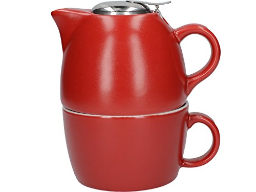 La Cafetière Barcelona Collection - Juego de Taza de té y Tetera de cerámica, Color Rojo Brillante