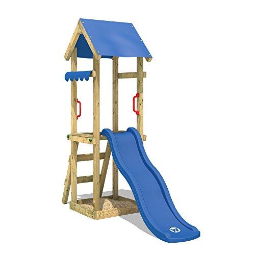 WICKEY Spielturm mit Rutsche TinySpot Kletterturm Klettergerüst mit Sandkasten und Kletterleiter
