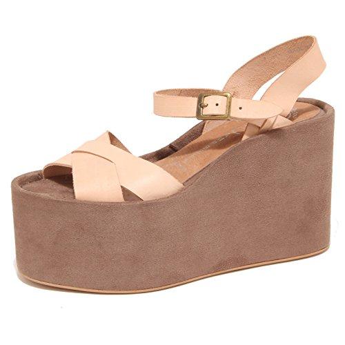 9262O sandalo zeppa JEFFREY CAMPBELL SAUBLE scarpa donna shoe woman cuoio/tortora