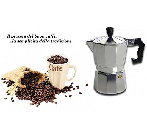 Media wave store caffettiera moka 1 tazza classica welkhome caffè espresso fatto in casa manico plastica