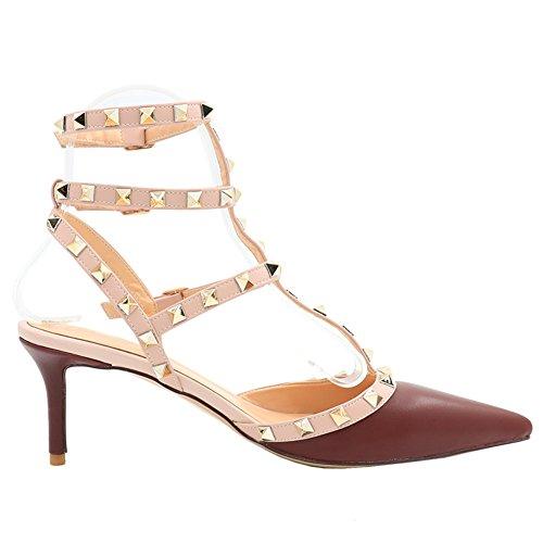 MERUMOTE Damen Y-107 Spitze Zehe Stilettos High Heels Schuhe Nieten Narrow  Straps Kleid Pumps ...