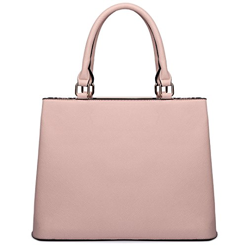 Miss LuLu Handtasche Damen Aktentasche Bürotasche Officetasche Business Vintage Elegant Praktisch Groß (LT6619-Braun) LT6619-Pink