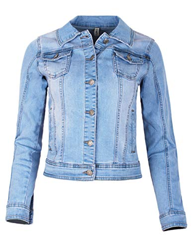 Fraternel Damen Jacke Jeansjacke Denim Jacket talliert Stretch Hellblau XL / 42 Stretch-jacke