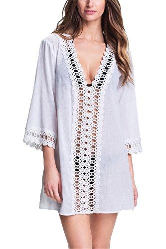 Strandponcho Damen Schwarz Kaftan Kleid Weiß Strandkleid mit Spitze Bikini Cover Up Grün Chiffon Einheitsgröße Strandtunika langarm (L, weiß) (Frottee-kleid Up Cover)