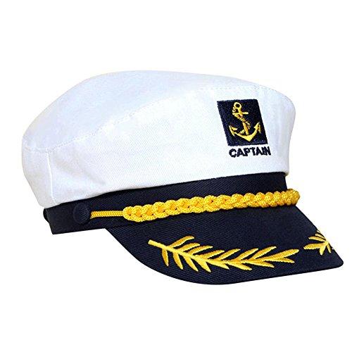 (MAXGOODS Weiße Yacht Captain Navy Marine Skipper Schiff Sailor Military Nautischen Hut Cap Kostüm Erwachsene Party Kostüm)