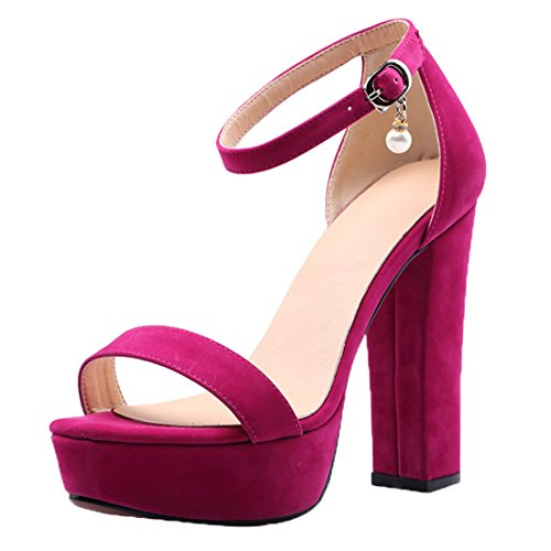 Cinturino Rosa Uh Partito Fibbia Nozze Alla Con Caviglia Sandali Blocchi Piattaforma Tallone Aperta E Punta 0q0fwOr