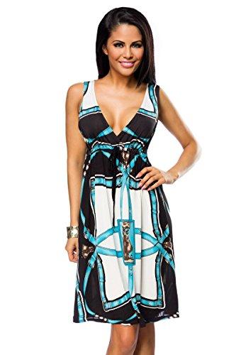 Une robe d'été à imprimés detailliertem dans 3 variantes a14034 - türkis (Sw 37)