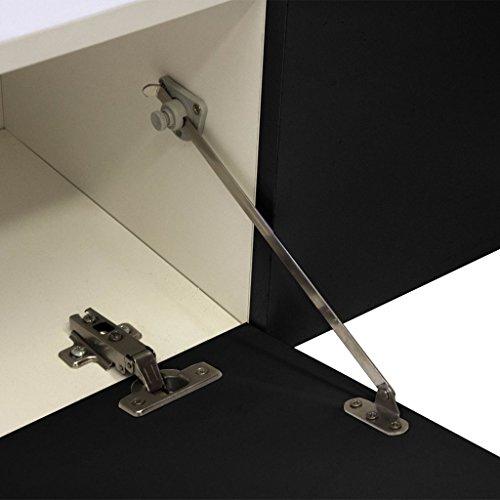 vidaXL Hochglanz Wohnwand Mediawand Anbauwand Schrankwand LED TV-Wand weiß/schwarz