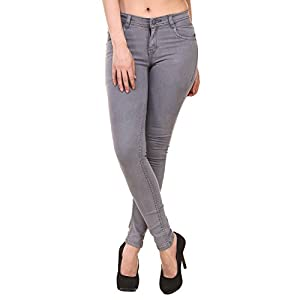Jannon Grey Color Slim Fit Denim for Women 1