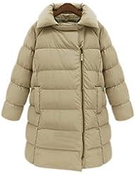 V-SOL Abrigo Traje Chaqueta De Plumas Pumón Para Mujer Lady Largo Con Capucha Polyester (Caqui, L)