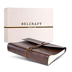Idea Regalo - Belcraft Tivoli Album fotografico in pelle riciclata, realizzato a mano in stile italiano, scatola regalo inclusa, A4(23x 30cm) marrone.