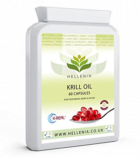 Hellenia K.Real® 100% Antarctic Krill Oil - 60 Capsules - Pure High Quality Product 500mg - Highest Purity - Lowest Sodium - 1 Month Supply Test