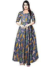 f8f3c41a304 Silver Organisation Rayon Women s Long Maxi Dress Long Sleeves Casual (Free  Size L-XXL