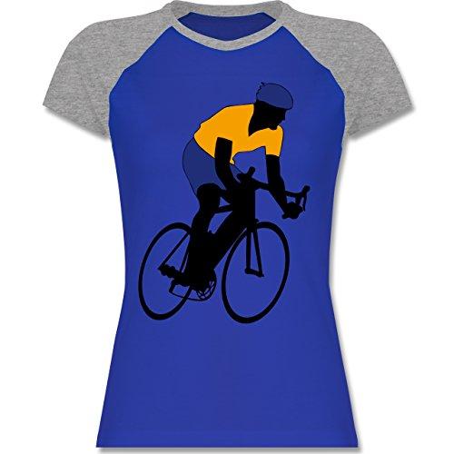 Radsport - Rennradfahrer - zweifarbiges Baseballshirt / Raglan T-Shirt für Damen Royalblau/Grau meliert