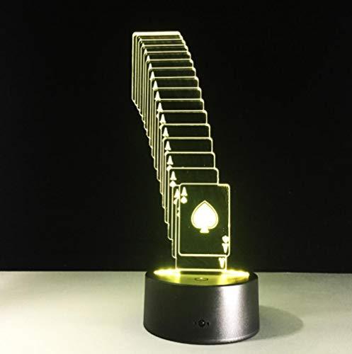 ZJFHL 3D Optische Illusions-Lampen Karten spielen 7 Farben erstaunliche optische Täuschung die Schlafzimmer-Dekoration für Kinder Weihnachten Halloween-Geburtstagsgeschenk beleuchten