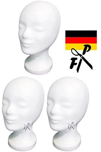 3 x Styroporkopf Standard - Marken-Qualität aus deutscher Herstellung (weiss)