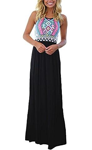 Happy Sailed Ladies Sleeveless Beach Dress Striped Sundress Boho Long Maxi Dress Black Blue X-Large