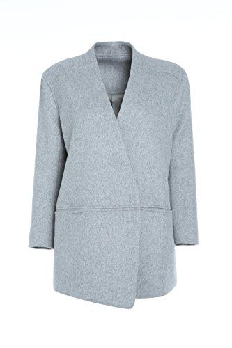 DP Mode kurz Damen Mantel 100% Wolle Grau DP3301