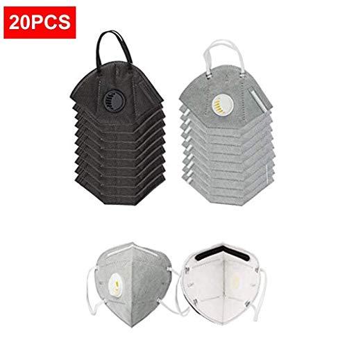 Dorical Paquete 20 máscaras Antipolvo Desechables N95, mascarillas faciales respirador PM2.5 10 Piezas carbón Activado Orejas Montaje válvula respiración Esponja + 10 Piezas Negro Orejas