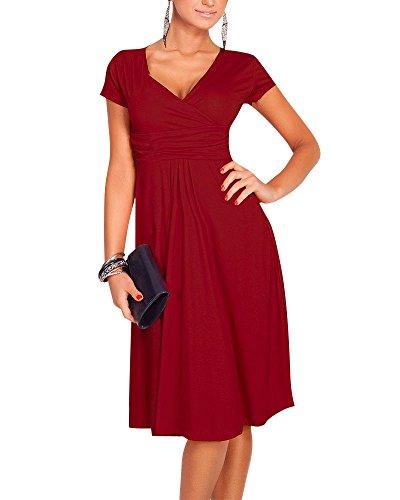 Moollyfox Donna Abito a Manica Corta Estivo Vestito Scollo A V Molto Femminile Vino Rosso