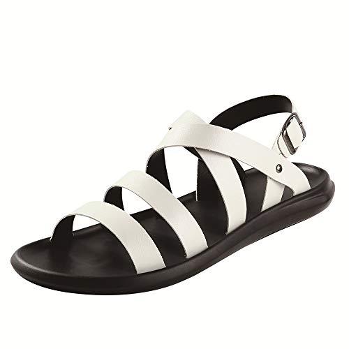 Best-choise Sandali per Uomo FashionCasual Shoes Slip On Style Cuoio Semplice Colore Solido con Elegante Chiusura Durevole (Color : Bianca, Dimensione : 42 EU)