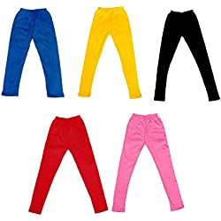 IndiWeaves Girl's Super Soft Cotton Leggings Combo 5 (7140907050408-IW-36_Multicolour_13-14 Years)