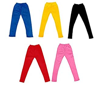 IndiWeaves Girl's Super Soft Cotton Leggings Combo Pack of 5 (7140907050408-IW-22_Multicolour_1-3 Years)