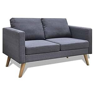 Vidaxl divano in tessuto a 2 posti grigio scuro divanetto for Arredo casa amazon
