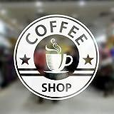 Dongwall Kaffeetasse Shop Wandaufkleber Tasse Muster Zeichen Für Kaffeehaus Cafe Fensterglas Dekoration Abnehmbare Vinyl Wandtattoos 56x56 cm