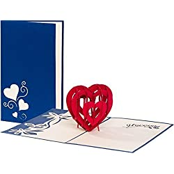 """Hochzeitskarte""""I love you - Herz"""" 3D Pop up, handgefertigt, Liebe, Glückwunschkarten, Karte zur Verlobung, Karte Geburtstag, Hochzeitstag, Geburtstagskarte, Hochzeitseinladung"""