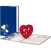 """Hochzeitskarte """"I love you - Herz"""" 3D Pop up, handgefertigt, Liebe, Glückwunschkarten, Karte zur Verlobung, Karte Geburtstag, Hochzeitstag, Geburtstagskarte, Hochzeitseinladung"""