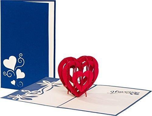 Hochzeitskarte'I love you - Herz' 3D Pop up, handgefertigt, Liebe, Glückwunschkarten, Karte zur Verlobung, Karte Geburtstag, Hochzeitstag, Geburtstagskarte, Hochzeitseinladung