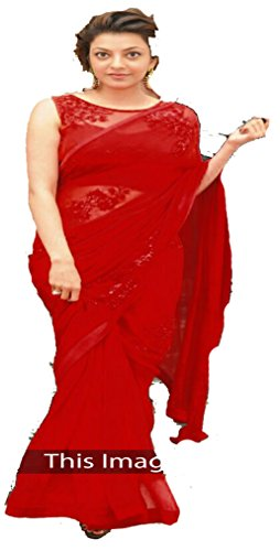 Sunshine Fashion Red Color 60Gm Georgettete , Fabric Multy/Sequence Saree ( New...