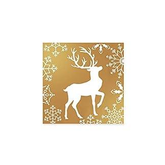Servilletas de papel doradas decoradas con diseño de estrellas – Colección Navidad – 33 x 33 cm – 20 unidades