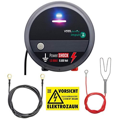 Voss.farming Pastor eléctrico V30, Electrificador de cercados 230V, para Perros Grandes, Caballos,...