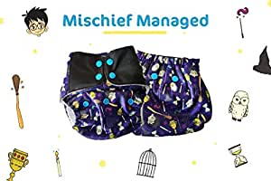 Superbottoms Cloth Diapers Plus Reusable All in One Diaper with 2 Organic Cotton Soakers and Dry Feel - Mischief Managed