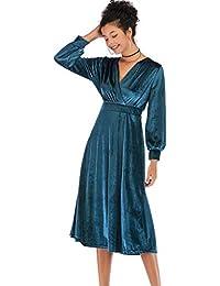 8663bf6c48a0 Topgrowth Vestito Donna Eleganti Abito in Velluto con Scollo A V sul Retro  Attraversare Manica Lunga Vestito