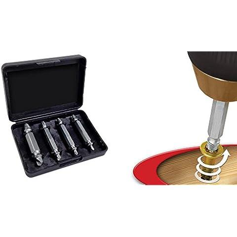 MWS2136 Kit de 4 extractores de tornillos partidos o dañados (Sacatornillos)