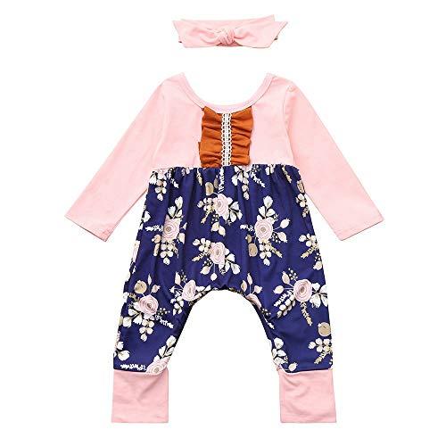 cinnamou Kleinkind Baby Langarm Floral Print Jumpsuit + Stirnbänder Set Outfit
