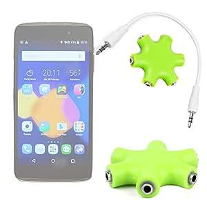 """Duragadget Séparateur «étoile» jack 3.5 mm vert pomme pour smartphone Alcatel Orange Klif, Pixi 3 (5.5), OneTouch IDOL 3 (4.7"""") et (5.5"""")- branchez jusqu'à 5 écouteurs/casques"""